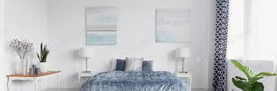 panorama der pflanzen im weißen schlafzimmer mit plakaten über blauem bett foto bialasiewicz auf envato elements
