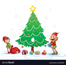 Girls Decorating Christmas Tree Vector Image