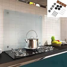 melko spritzschutz herdblende aus glas für küche herd fliesen 6 mm esg sicherheitsglas küchenrückwand inkl schrauben 70 x 40 cm milchglas