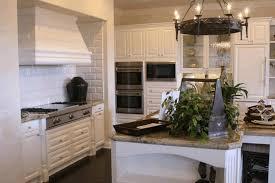Kitchen Backsplash Dark Cabinets Worn Out Black Wooden Counter Modern Glass Bowl Shaped Hanging Lamp