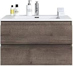 badezimmer badmöbel set angela 80cm braun eiche unterschrank schrank waschbecken waschtisch