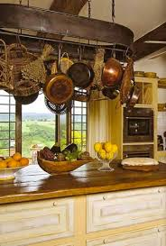 Love This Rustic Country Kitchen Look With A Hint Of French Countrynotice All The Different Things They Have Hanging From Pot Rack