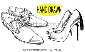 Drawing By Hand In Vintage Style Fashion High Heeled Shoes And Mens