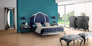 Double bed New Baroque design with upholstered headboard