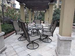 7 Piece Patio Dining Set With Umbrella by 7 Piece Patio Dining Set With Swivel Chairs Modern Chairs Design