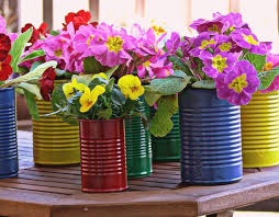Flower Pots Made From Old Tin Cans