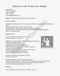 Lab Technician Resume Sample Detail Samples Chemistry Fl U27370