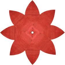 Red Poinsettia Christmas Tree Skirt Shiny Leaf Design Bling