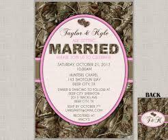 Camo Wedding Invitation Invites Hunting Camouflage Orange Pink
