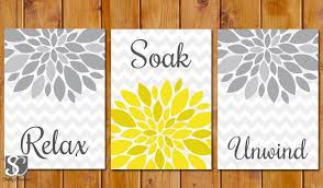 yellow and grey bathroom decor stylish wall decor ideas flower