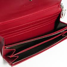 christian dior patent cannage rendez vous chain wallet red 80444
