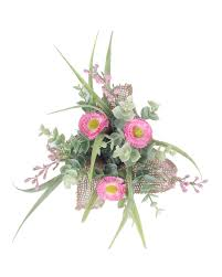 Pink Artificial Daisy Flowers Arrangement In Rustic Burlap Pot