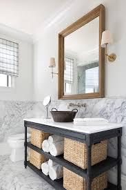 Restoration Hardware Bathroom Vanity Single Sink by Black Oak Sink Vanity With Wicker Bins Transitional Bathroom
