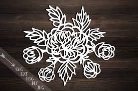 Peonies Svg Cutting Template Peony Papercutting Hand Templates Flowers Rose File Bouquet Laser Cut Dxf Pdf Png