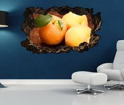 3d wandtattoo durchbruch aprikose obst frucht küche aprikosen wand aufkleber wanddurchbruch sticker selbstklebend wandbild wandsticker wohnzimmer