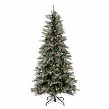 Snowy Dunhill Christmas Trees by Slim Christmas Tree 210 Cm Flocked Dunhill With Pine Cones