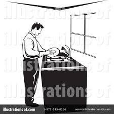 Royalty Free RF Washing Dishes Clipart Illustration By David Rey