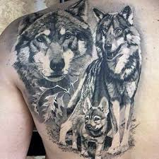 Wolf Pack Animal Back Tattoos For Guys