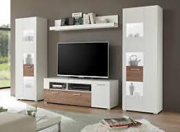 details zu wohnwand anbauwand mediawand wohnzimmer 4 teilig weiß wildeiche dunkel 77169043