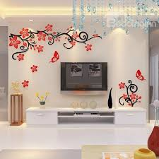 Fabulous Acrylic 3D Flowers And Vines TV Wall Bedroom Stickers
