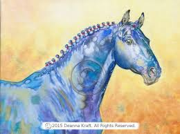 Giclee Print Of Original Watercolor On Canvas Horse Painting Big Blue Coloring PagesWatercolor