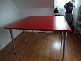 Ikea Desk Top Wood by Square Red Glossy Wooden Ikea Table Tops With Grey Metal Legs On