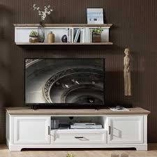 landhaus tv lowboard wandregal set sinolita 2 teilig