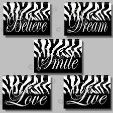 Wall Decor Black And White Zebra Print Inspirational SMILE Dream LIVE By Collagebycollins