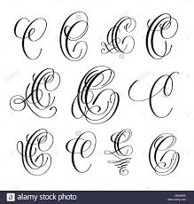 Calligraphy Lettering Script Font C Set Hand Written Signature Letter Design Vector Illustration