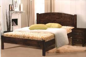 Bedroom Dark Wood Single Bed Frame Timber Sleigh Bed White
