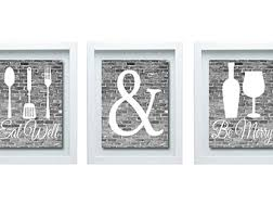 Eat Wall Art 2 Black And White Kitchen Drink Be Merry Print Decor