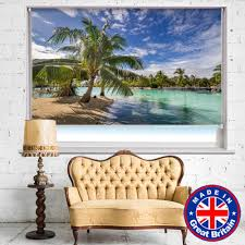 tropical palm paradise printed picture roller