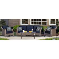 Mainstays Patio Set Red by Mainstays Willow Springs 6 Piece Patio Dining Set Blue Seats 5