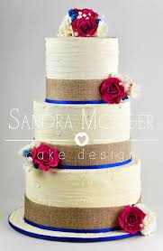 Rustic Wedding Cake With Hessian Ribbon Handmade Roses Berries And Lisianthus