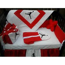 jordan red and white crib bedding set