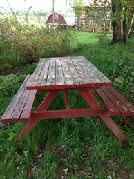 diy old outdoor redwood folding picnic table with attached benches