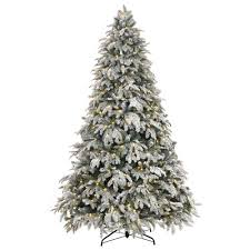 Pre Lit LED Flocked Mixed Pine Artificial Christmas Tree
