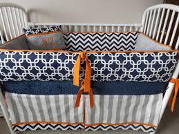 Baby boy bedding crib sets Navy Chevron gray Orange bumper