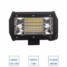 offroad 5inch 72w led work light bar flood light 12v 24v car truck