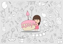Girl with birthday cupcake on happy birthday doodles background drawing by hand vector Stock Vector
