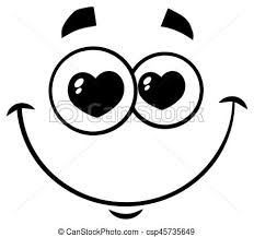 Black And White Smiling Love Cartoon Funny Face With Hearts Eyes