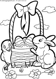 Free Printable Easter Basket Bunny Egg And Chick Coloring Page