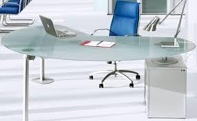 bureau en verre isotta bureau direction verre sablé caisson à gauche aluminium