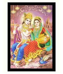 100 Krisana BM Traders Radha Krishna Sparkle Sticker 20 X 28 Inches Vinyl Art Prints Without Frame