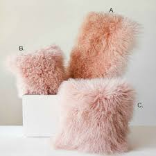 Blush Mongolian Lamb Fur Pillow