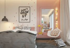 jugendzimmer maedchen grau rosa wandspiegel wandbild spruch