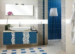 navy blue bathroom ideas brown finish varnished wooden table
