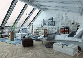 loft schlafzimmer in holzböden mit bildern bedeckt sitzpolster und andere dekorationen mit schrä fenstern oben 3d rendering