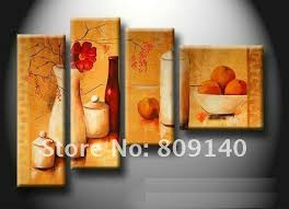 Kitchen Dining Room Oil Painting Canvas Stretched Artwork Modern Abstract Home Restaurant Decoration Wall Art Decor High Quality Handmade