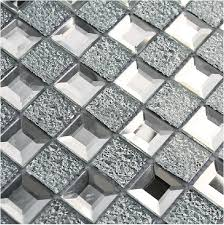 mirrored glass mosaic tile 1x1 chips silver shape kitchen